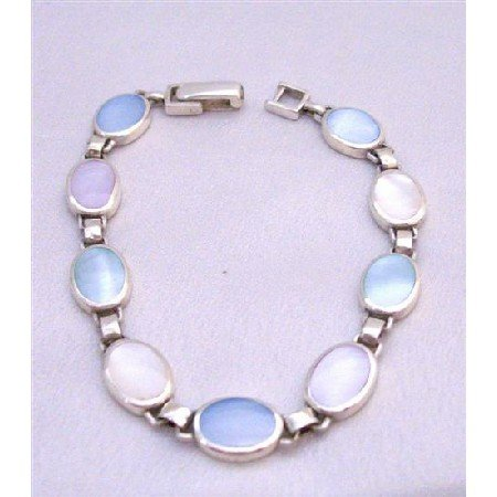 BR100 Inlaid Mother Pearls Blue Opal Pale Pink Genuine Sterling Silver 92.5 Bracelet