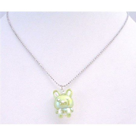 UNE187  Charming Easter Bunny Rabbit Gift Cute Green Bunny Pendant Necklace