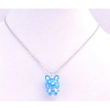 UNE185 Easter Bunny Rabbit Pendant Blue Enamel Pendant Silver Plated Chain Necklace