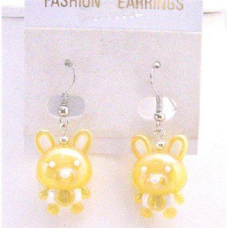 UER365  Holiday Earrings Easter Bunny Rabbit Earrings Cute Yellow Bunny Earrings