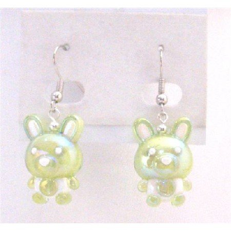 UER362  Enameled Green Bunny Easter Rabbit Earrings Adorable Cute Bunny Rabbit Holiday Jewelry