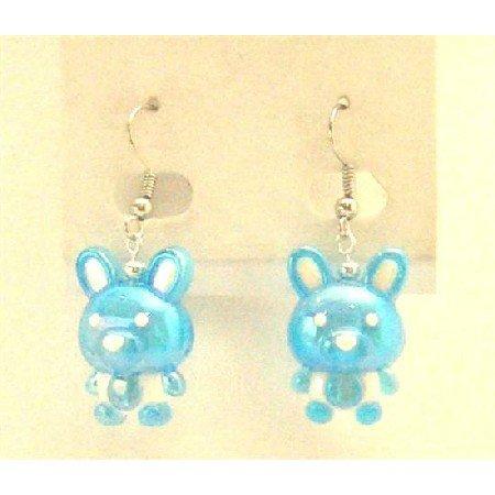 UER360  Easter Bunny Rabbit Earrings Jewelry Enameled Blue & White Cute Bunny Earrings