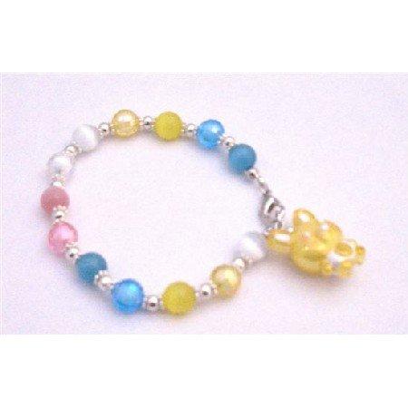 TB904  Handmade Cat Eye Easter Bunny Bracelet Multicolor Beads Bracelet Holiday Easter Bunny