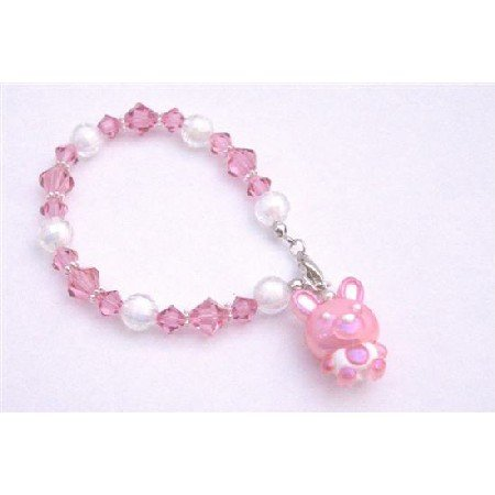 TB903 Swarovski Rose Crystals Acrylic Bead Cute Pink Charm Bracelet Easter Holiday Jewelry