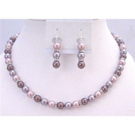 BRD947 TriColor Swarovski Pearls Necklace Set w/Diamond Spacer Rondells Handcrafted Jewelry Set