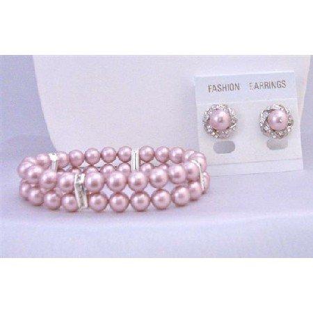 TB847 Wedding Jewelry Set Bracelet Stud Earrings Powder Rose Double Stranded Stretchable Bracelet
