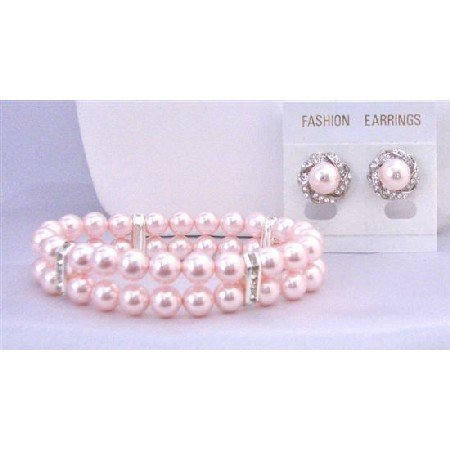 TB846 Rosaline Bridal Bridemaids Jewelry Double Stranded Pink Pearls Bracelet w/Matching Earrings