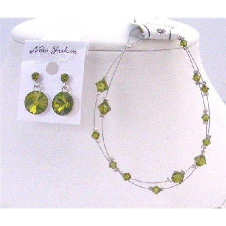 TB838 Bicone Double stranded Wire w/Genuine Swarovski Olivine Crystals Bracelet & Earrings Set