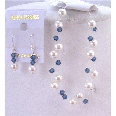 TB834 Bracelet & Earrings Jewelry White Pearls Montana Crystals Bracelet Double Stranded Jewelry