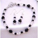 TB814 Swarovski Jet & Clear Crystals Bali Silver Spacer Sterling Earrings & Bracelet