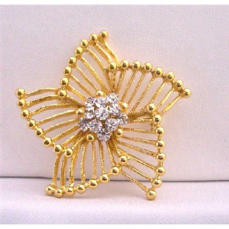 B210  Stylish Trend Gold Brooch w/ Size 2 x 2 & Decorated w/ Cz In The Center