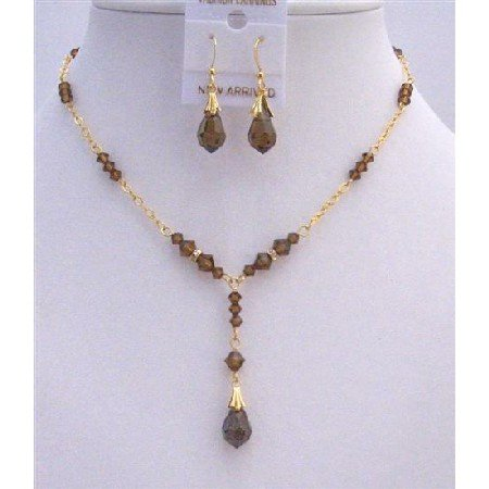 BRD806 Golden Necklace Set w/Swarovski Smoked Topaz Crystals & Smoked Topaz Teardrop Bridal Set