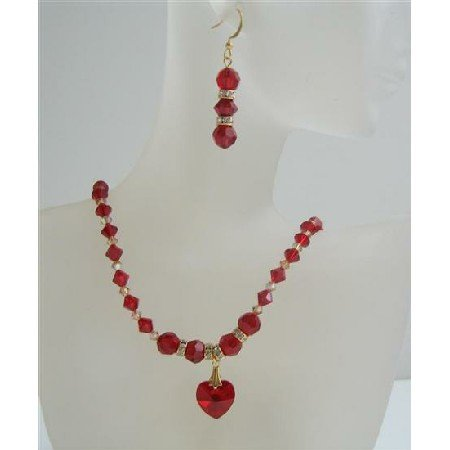 BRD804 Golden Shadow Swarovski & Siam Red Crystals Heart w/Golden Rondells Spacer Necklace Set
