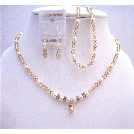 BRD801 Bridal Jewelry Set w/ Ivory Pearls & Silver Rodells Spacer Necklace Set
