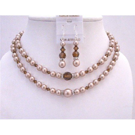 BRD757 Champagne Pearls Double Stranded Necklace Set w/Smoked Topaz Crystals & Silver Rondells