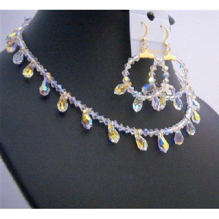 BRD753  Bridal Gold AB Crystals Teardrop Jewelry Set Exclusive Bridal Jewelry Set