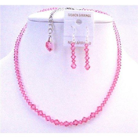 NSC626  Back Drop Down Crystals Heart Necklace Set Swarovski Rose Pink Crystals