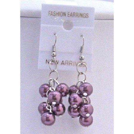 U081  Dark Purple Pearls Grape Pearls Earrings
