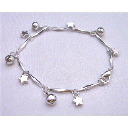 U101  Dangling Jingle Ball Star Charm Bracelet High Quality Rhodium Chain