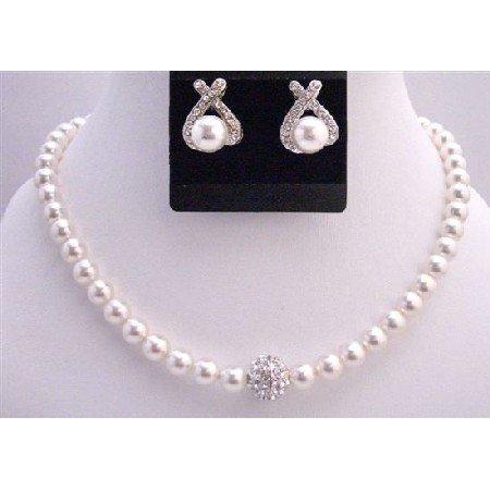 BRD729  White Pearls Bridal Jewelry Set 8mm Pearls w/ Cubic Zircon Ball Pendant w/ Stud Earrings