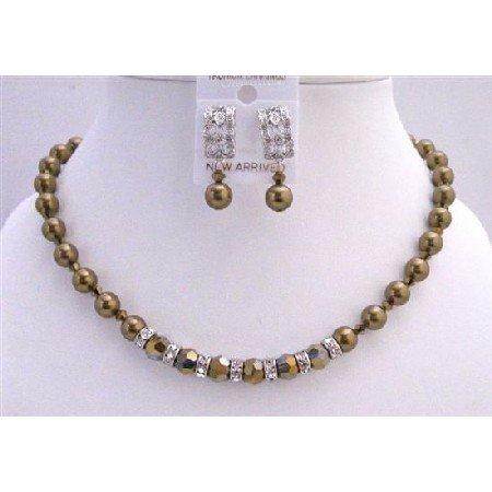 BRD724  Expresso Pearls Dorado Crystals Genuine Swarovski Pearls & Crystals Necklace Set