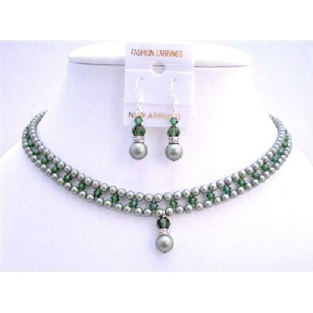 BRD707 Powder Almond Green w/Tumarine Green Crystals Jewelry Set Handmade Bridal Necklace Set