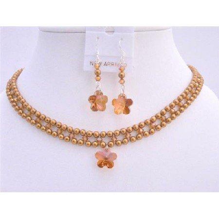 BRD706  Swarovski Copper Pearls & Copper Crystals Necklace Set Handmade Bridal Jewelry Set