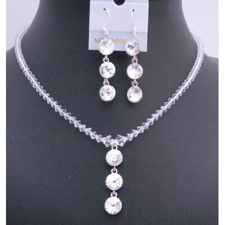 NSC612 Drop Down Pendant Necklace Set Genuine Swarovski Clear Crystals w/Silver Earrings