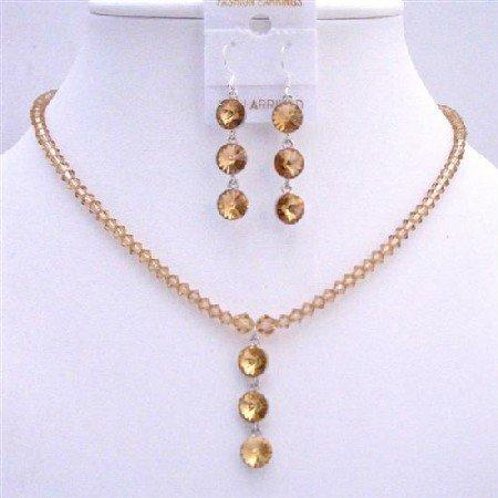 NSC610 Colorado Swarovski Crystals Bridal Jewelry Set Drop Down Jewelry Set