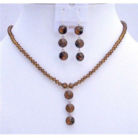 NSC607  Swarovski Smoked Topaz Crystals Drop Down Jewelry Set w/Sterling Silver Earrings