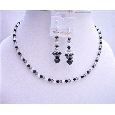 NSC589 Swarovski Tri-Color Crystals Necklace Set Jet Black Diamond & Clear Crystals Jewelry Set