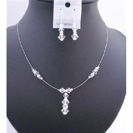 BRD677 Wedding Necklace Set w/ Clear Swarovski Crystals & Silver Rondells