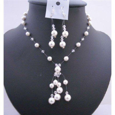 BRD635 Wedding Custom Jewelry White Pearls Clear Crystals Necklace Set w/ Drop Tassel