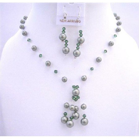 BRD631 Powder Green Pearls Turmarine Green Crystals Swarovski Pearls Crystals w/ Drop Tassel