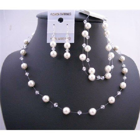 BRD652 Clear Crystals w/ White Pearls Necklace Set w/ Double Stranded Bracelet Complete Set