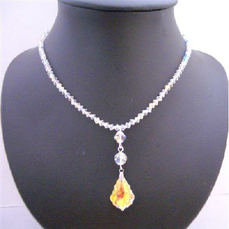 BRD645 Swarovski AB Crystals w/ Briollette Pendant Necklace AB Crystals Beads