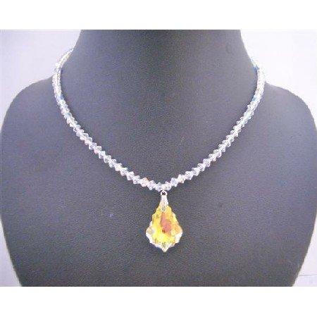 BRD643  Genuine Swarovski AB Crystals Necklace w/ Briollette Pendant Necklace