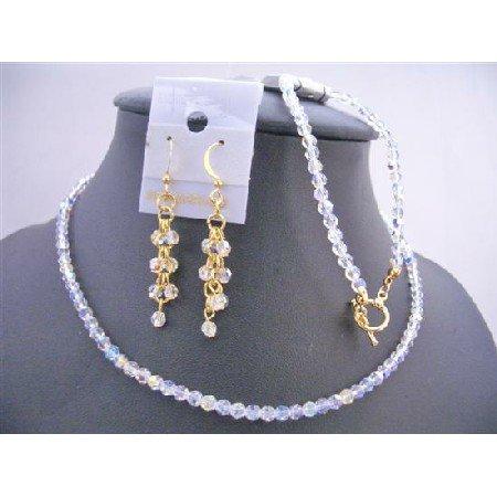 BRD641  Evening Party Jewelry Genuine Swarovski AB Round Crystals w/ 22k Gold Plated
