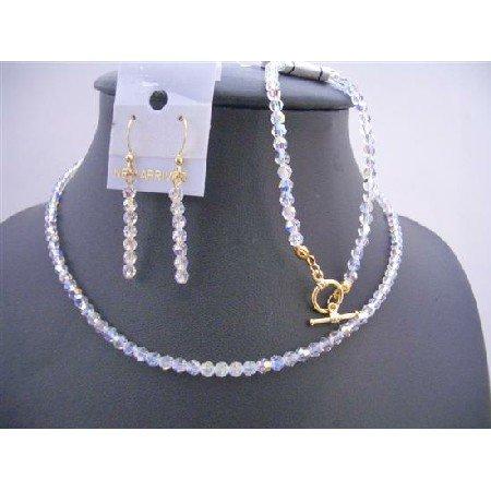 BRD639 Jewelry Complete Set Genuine Swarovski AB Round 4mm Crystals Jewelry Set