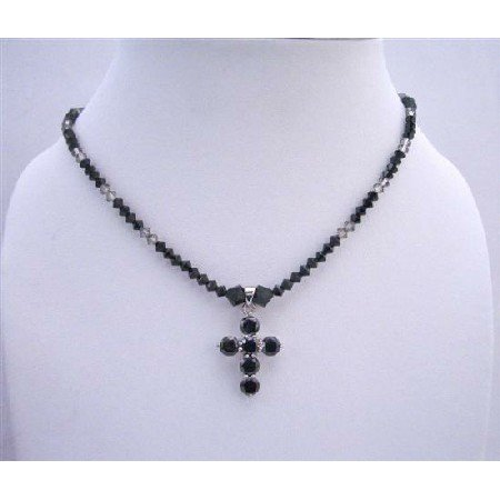 NSC570  Black Crystals Cross Pendant Necklace Swarovski Jet & Black Diamond Crystals Necklace