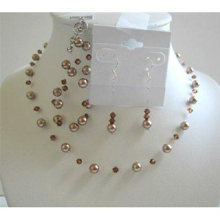 BRD592  Bronze Pearls w/ Smoked Topaz Swarovski Crystals Necklace Earrings Bracelet Jewelry Set