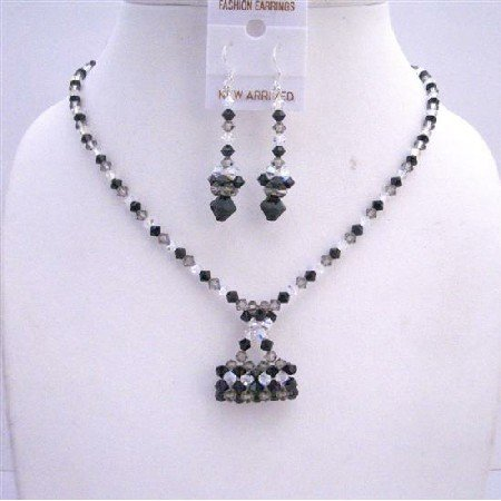 NSC551  TriColor Swarovski Crystals Jewelry Set w/ Handmade Purse Pendant Necklace Set
