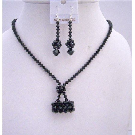 NSC550  Jet Crystals Purse Necklace Set Genuine Swarovski Crystals Purse Handmade Jewelry Set