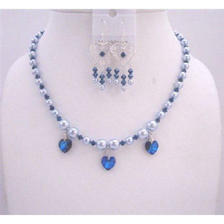 NSC515  Blue Pearls And Sapphire Swarovski Crystals Necklace Set Handcrafted Custom Jewelry