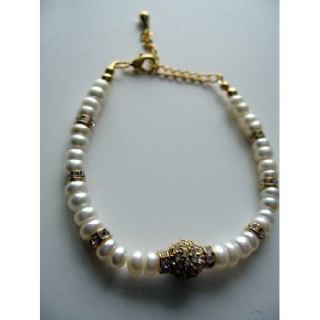 T240 FreshWater Pearls in Button Shape w/ Rondells & Gold Plated Pendant Bracelet