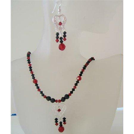 NSC474 Genuine Swarovski Siam Red & Jet Sterling Silver Heart Necklace Earrings Set