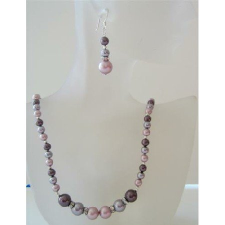 NSC473 Powder Rose Pearls Jewelry Set Tri Pearls Burgundy Mauve Powder Rose Pearls Necklace Set