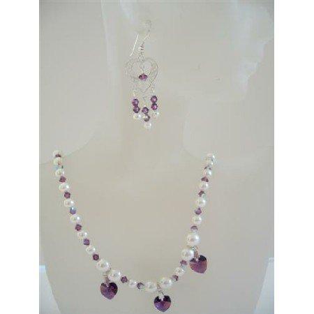 NSC470 Heart Jewelry Set Swarovski Amethyst & Cream Pearls Necklace Set w/ Sterling Silver Earrings
