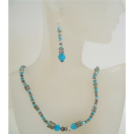 NSC441 Genuine Swarovski Volcano Turquoise Beads w/ Bali Silver Necklace Set
