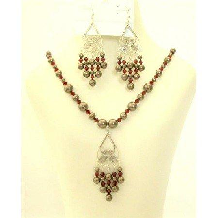 NSC399 Swarovski Pearls Crystals Jewelry Dark Brown Pearls w/ Dark Siam Red Crystals Set